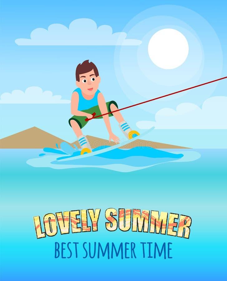 Esporte de Kitesurfing do verão do verão do amor o melhor ilustração stock