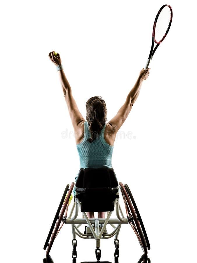 Esporte deficiente novo da cadeira de rodas da mulher do jogador de tênis isolado fotos de stock