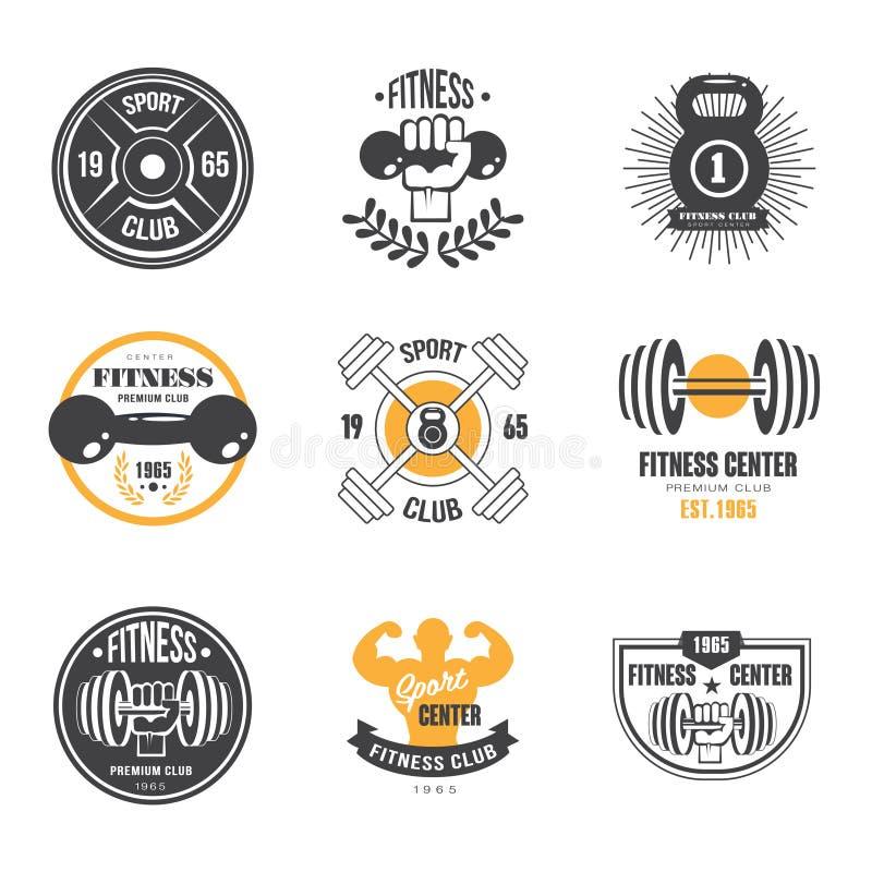 Esporte e aptidão Logo Templates, Logotypes do Gym ilustração stock