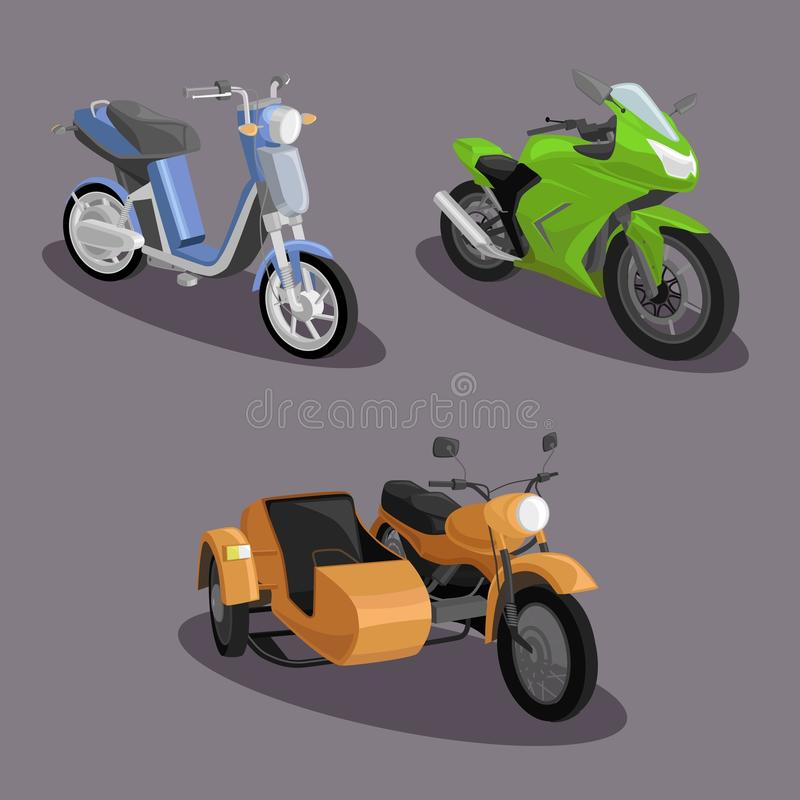 Esporte e grupo ordinário do projeto da imagem do vetor da motocicleta fotografia de stock royalty free