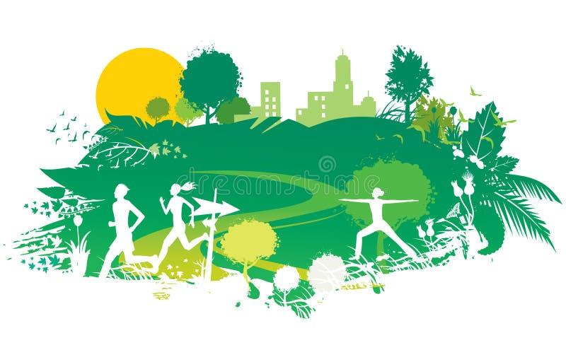 Esporte e natureza ilustração stock