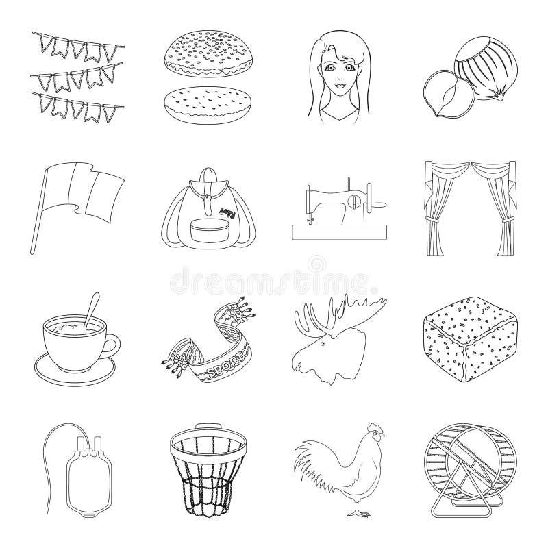 Esporte, educação, costura e o outro ícone da Web no estilo do esboço medicina veterinária, alimento, ícones da medicina na coleç ilustração do vetor