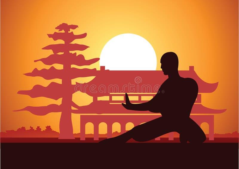 Esporte famoso de encaixotamento chinês da arte marcial de Kung Fu, monge Train a lutar, ao redor com templo chinês ilustração royalty free