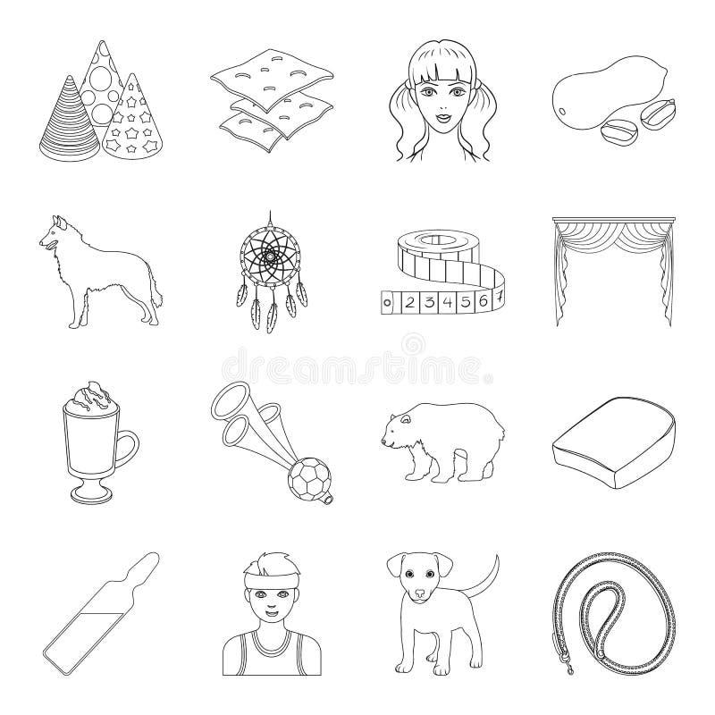 Esporte, medicina, animal e o outro ícone da Web no estilo do esboço oficina, alimento, cozinhando ícones na coleção do grupo ilustração do vetor
