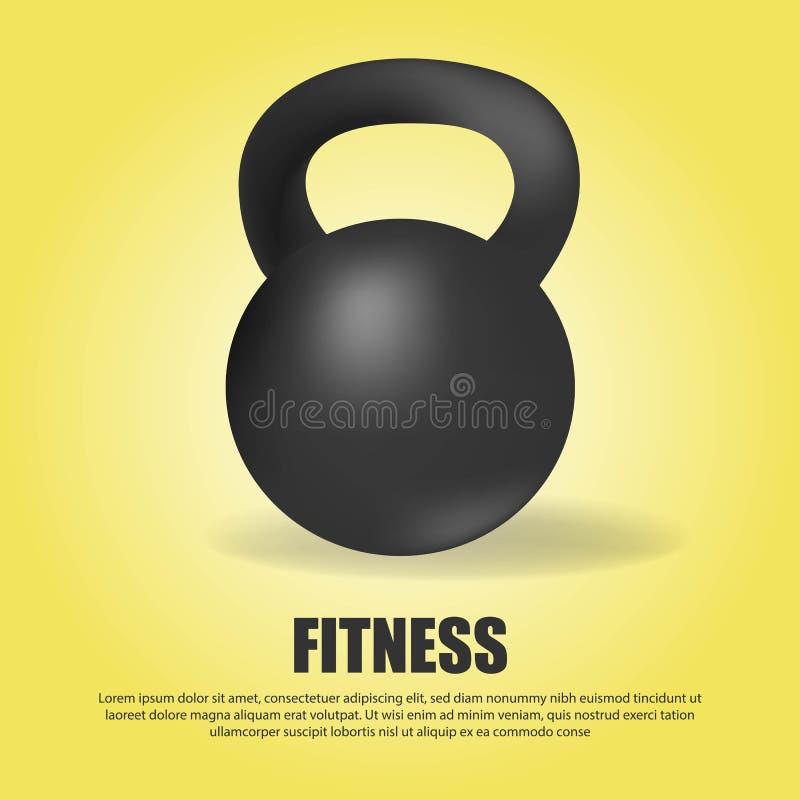 Esporte preto do gym do peso do kettlebell Fundo amarelo do inclina??o ilustração stock
