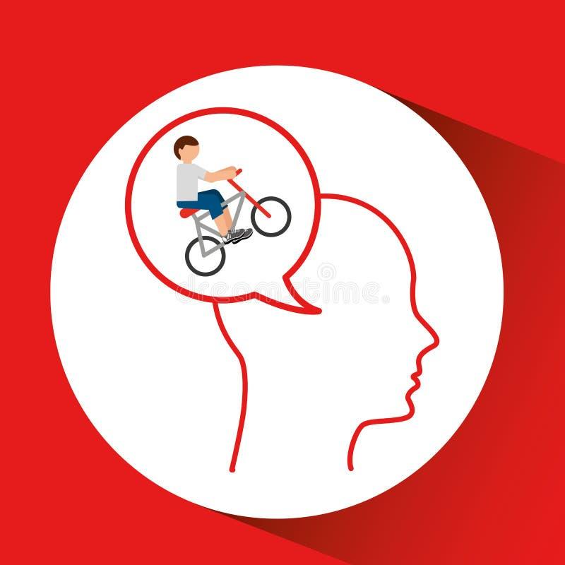 Esporte principal do extremo do ciclista da silhueta ilustração royalty free