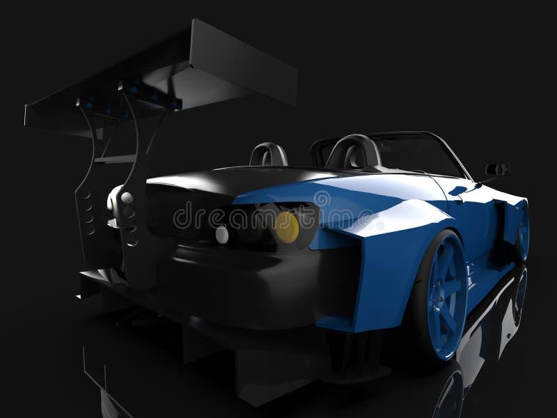 Esportes azuis modernos convertíveis Abra o carro com ajustamento rendição 3d ilustração do vetor
