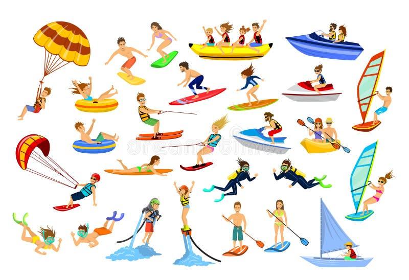Esportes da praia da água do verão, atividades ilustração royalty free