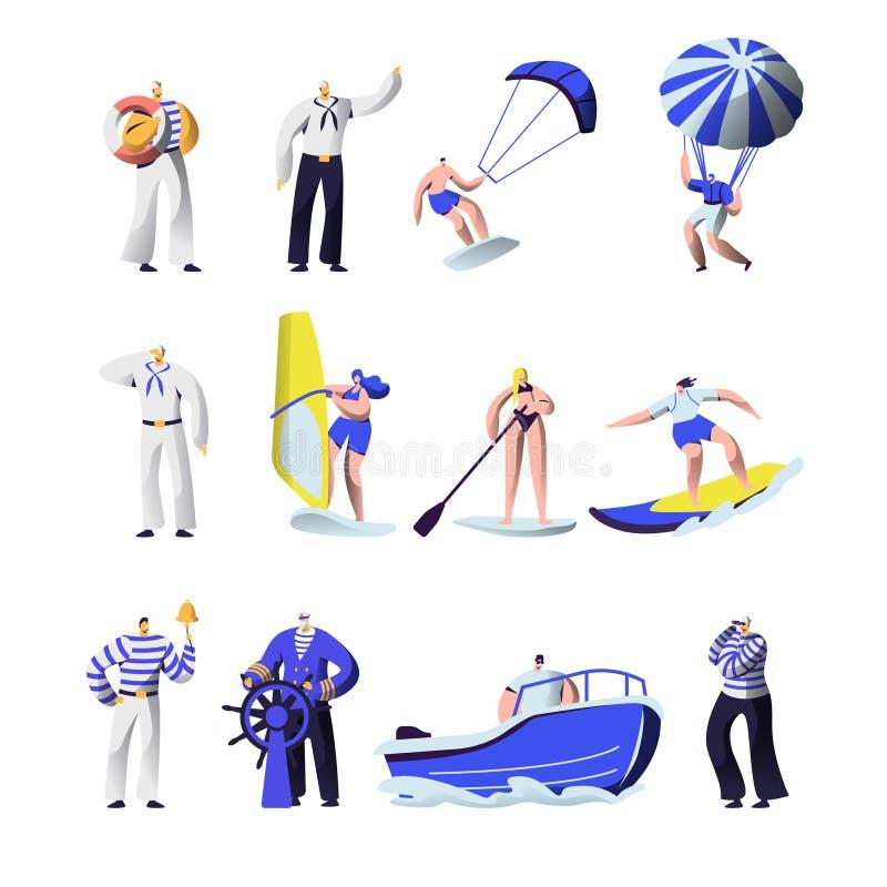 Esportes das horas de verão e grupo extremos das profissões do mar Uniforme do grupo de navio, capitão, marinheiros, surfando, pl ilustração do vetor