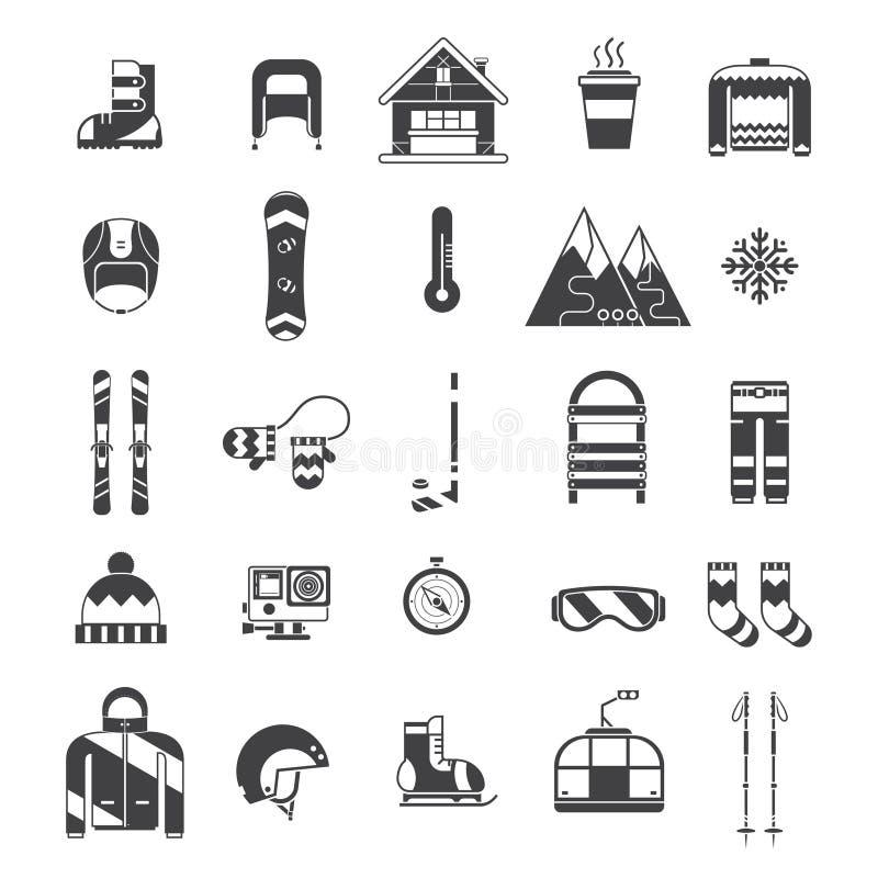 Esportes de inverno e grupo do ícone do esboço da atividade ilustração stock