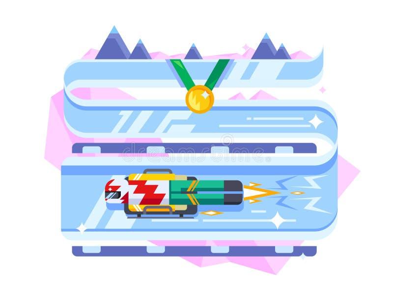 Esportes de inverno de esqueleto ilustração do vetor