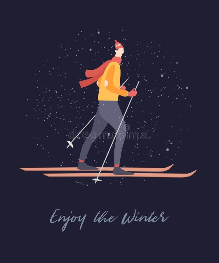 Esportes de inverno - esqui ilustração royalty free