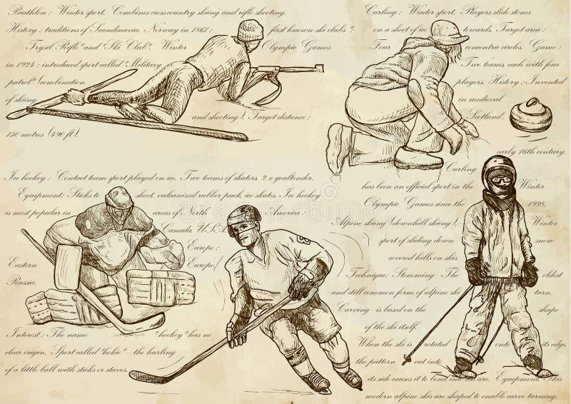 Esportes de inverno - ilustrações tiradas mão de um vetor, linha arte ilustração royalty free