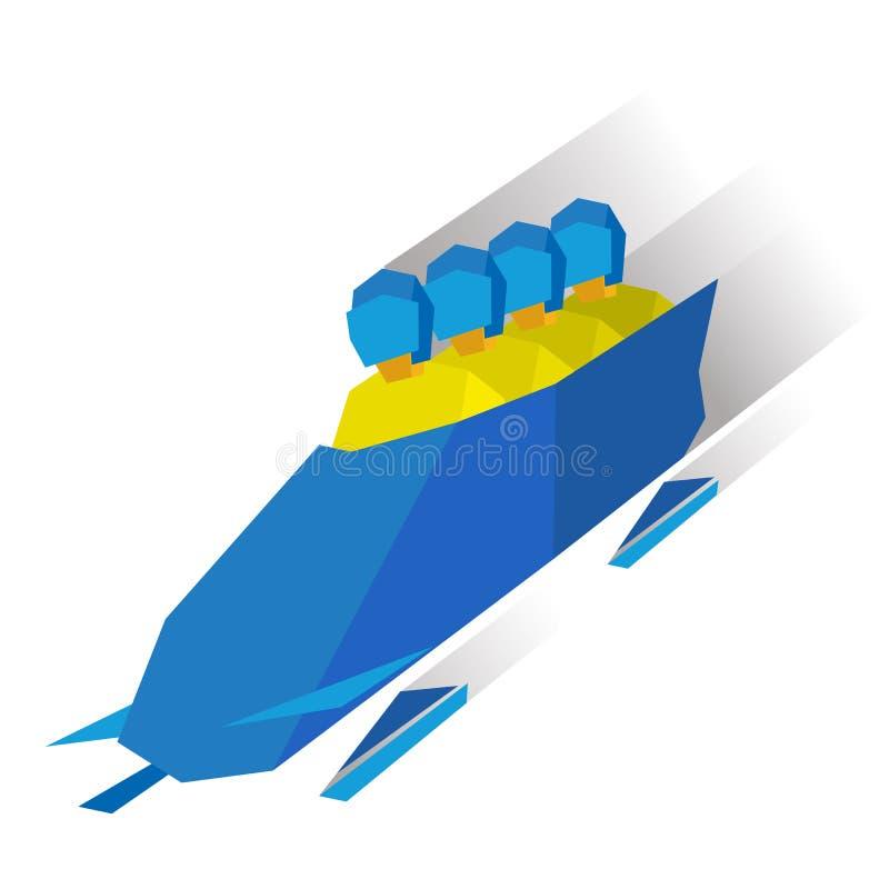 Esportes de inverno - trenó Passeio dos atletas dos desenhos animados no trenó ilustração do vetor