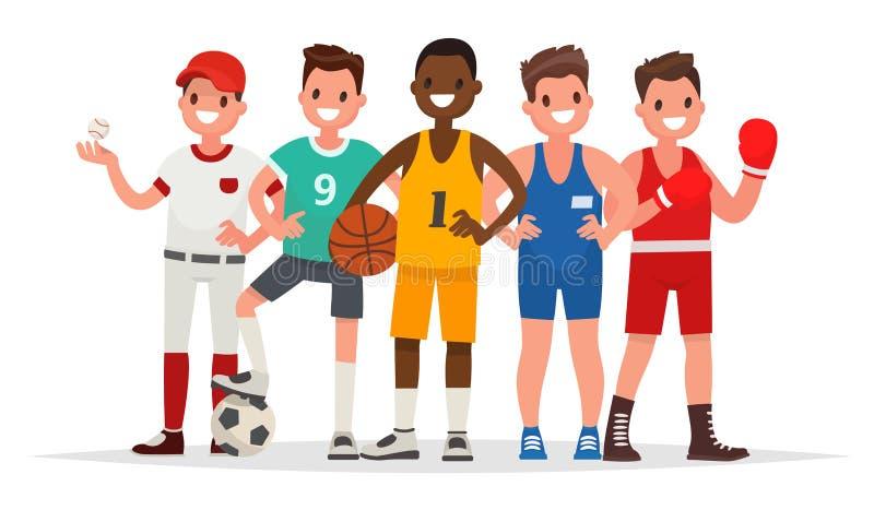 Esportes do verão Grupo de jogadores no basebol, basquetebol, futebol, G ilustração stock