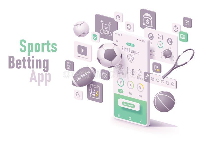 Esportes do vetor que apostam o conceito do app ilustração royalty free