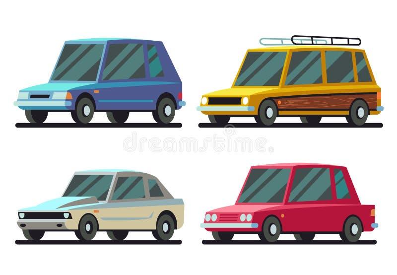 Esportes dos desenhos animados e grupo frescos do vetor dos carros do curso ilustração royalty free