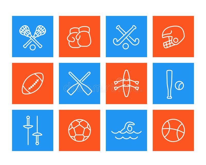 Esportes e ícones dos jogos, estilo linear ilustração stock