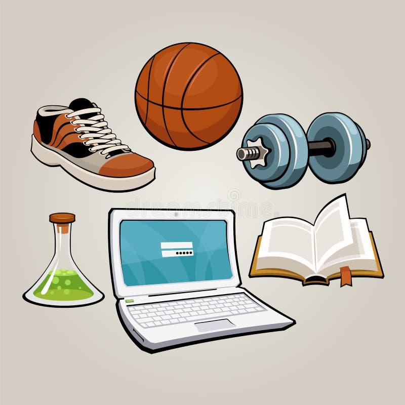 Esportes e grupo educacional do estudante ilustração stock