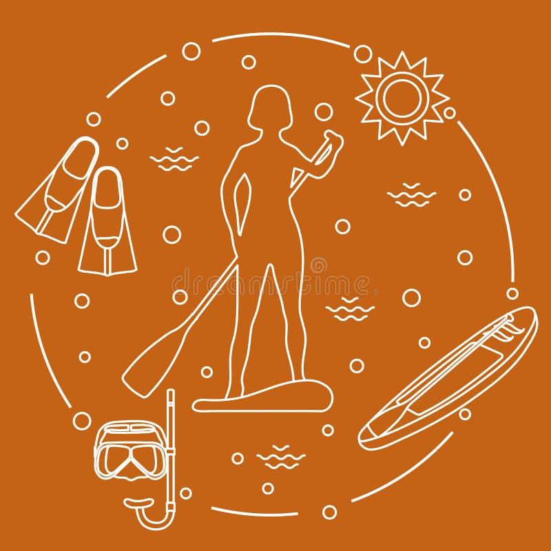 Esportes e lazer na água Remo de pé ilustração stock