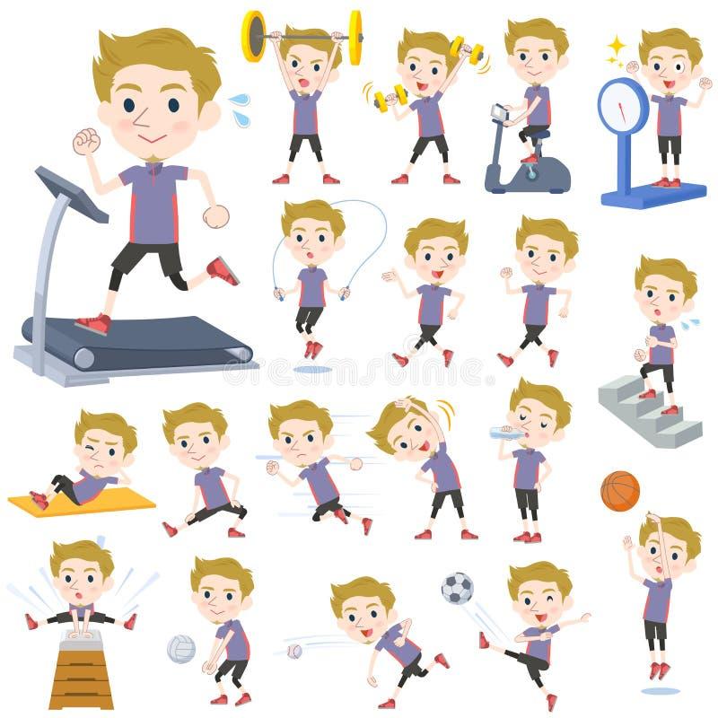 Esportes & exercício brancos do homem do cabelo louro ilustração royalty free