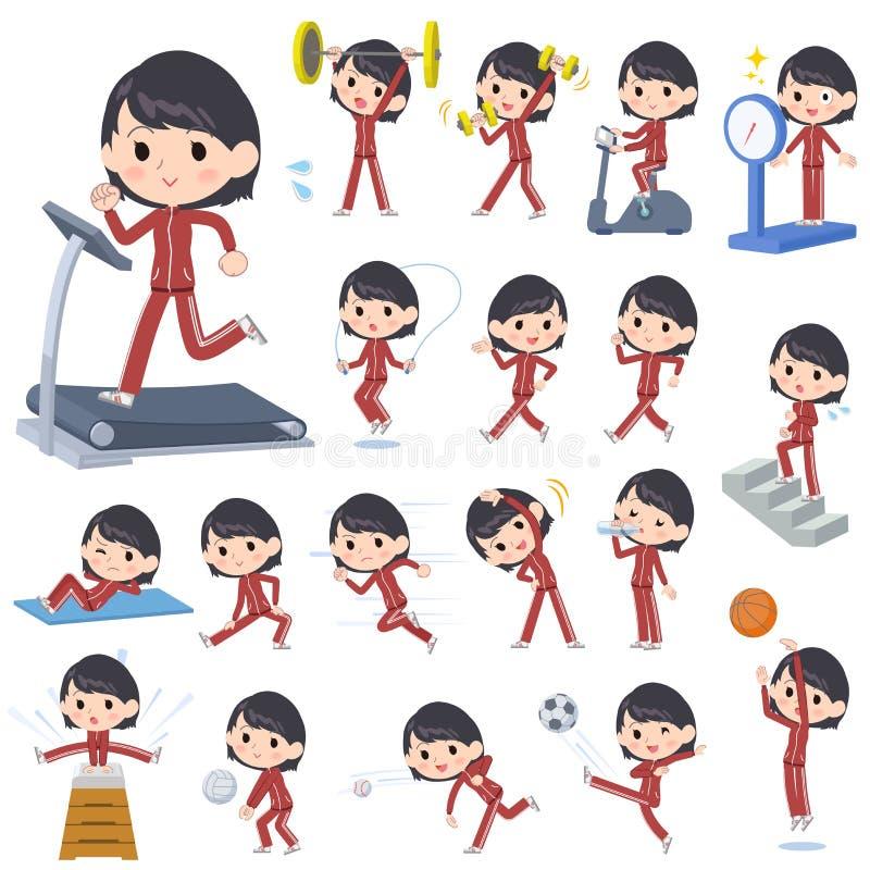 Esportes & exercício vermelhos do jérsei da menina da escola ilustração do vetor