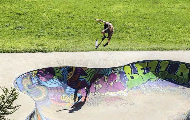 Esportes extremos no sportsground, cidade do bellingen, Austrália imagem de stock royalty free