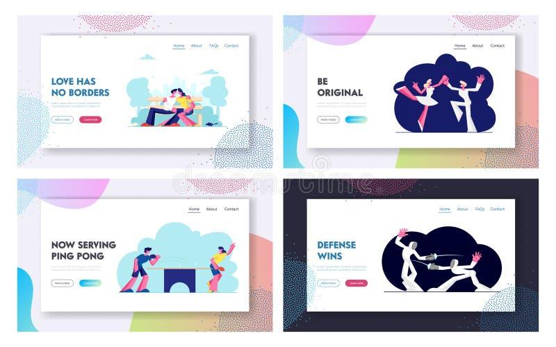 Esportes felizes dos pares, datando o grupo da página da aterrissagem do Web site da atividade, o homem e o cerco dos caráteres f ilustração stock