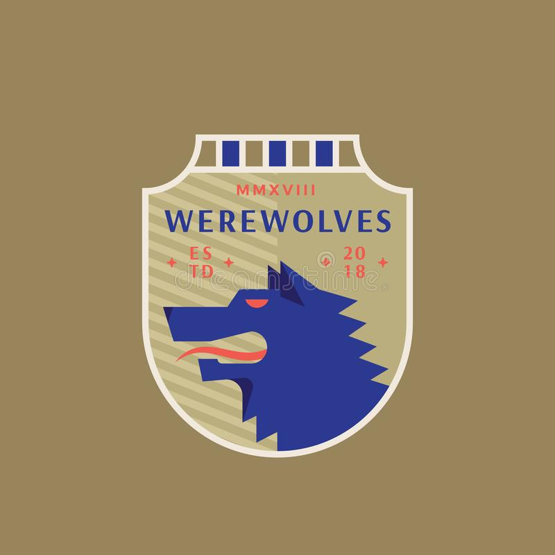 Esportes medievais Team Emblem dos homens-lobo Sinal, símbolo ou Logo Template abstrato do vetor Wolf Head irritado em um proteto ilustração do vetor