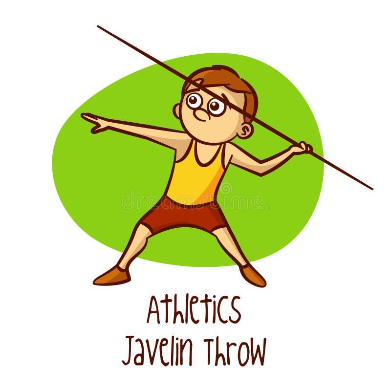 Esportes olímpicos do verão athletics Lance de dardo ilustração do vetor