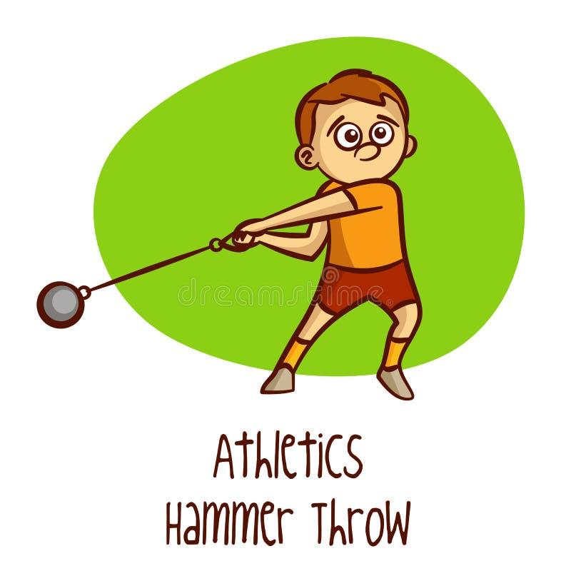 Esportes olímpicos do verão athletics Lance de martelo ilustração stock