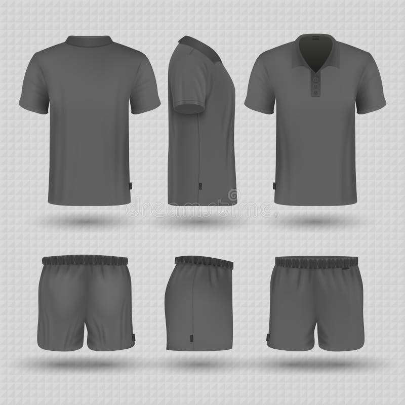 Esportes pretos do futebol uniformes O short e o t-shirt masculinos fronteiam, tomam partido e modelo traseiro do vetor da vista ilustração do vetor