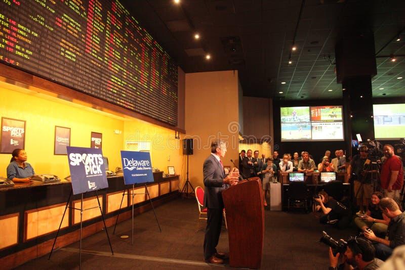 Esportes que apostam o lançamento em Delaware foto de stock royalty free