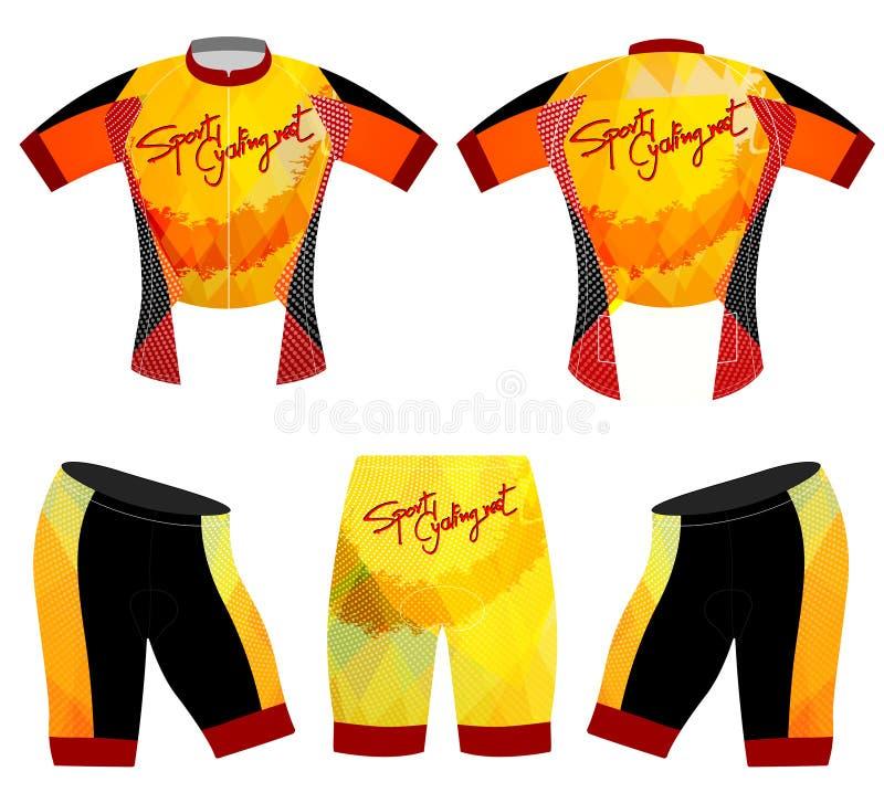 Esportes que dão um ciclo o vetor do t-shirt da veste ilustração stock