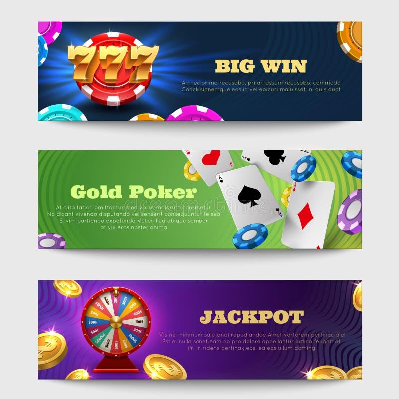 Esportes que jogam bandeiras com máquina da loteria, grupo dourado do vetor do dinheiro das moedas da roda da fortuna ilustração stock