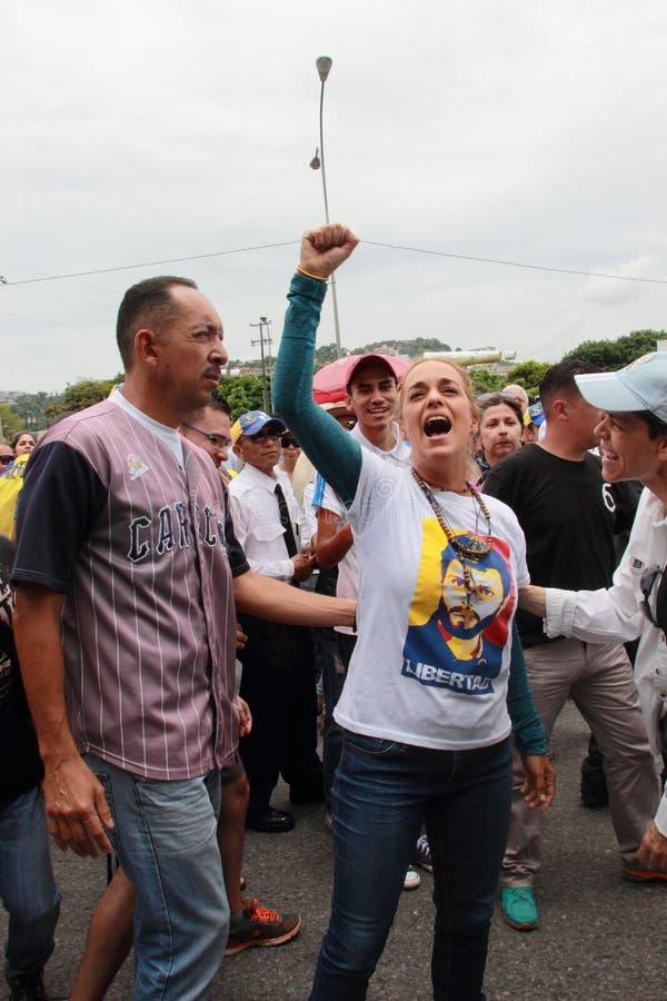 Esposa de Lilian Tintori do líder de oposição venezuelano encarcerado Leopoldo Lopez fotos de stock