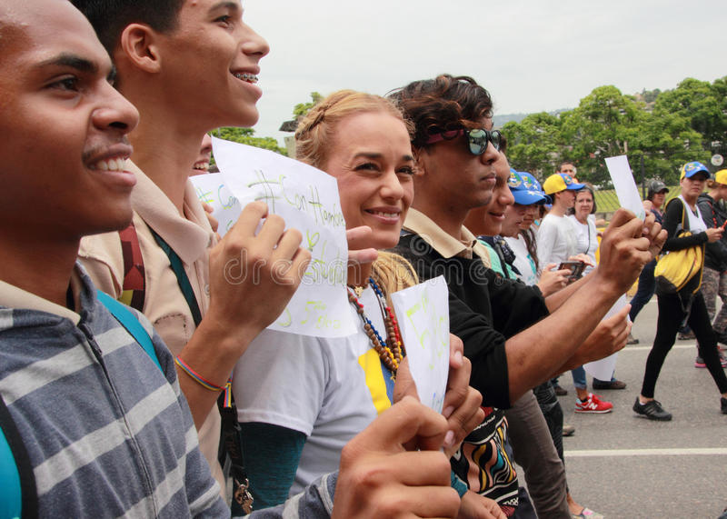 Esposa de Lilian Tintori do líder de oposição venezuelano encarcerado Leopoldo Lopez foto de stock royalty free