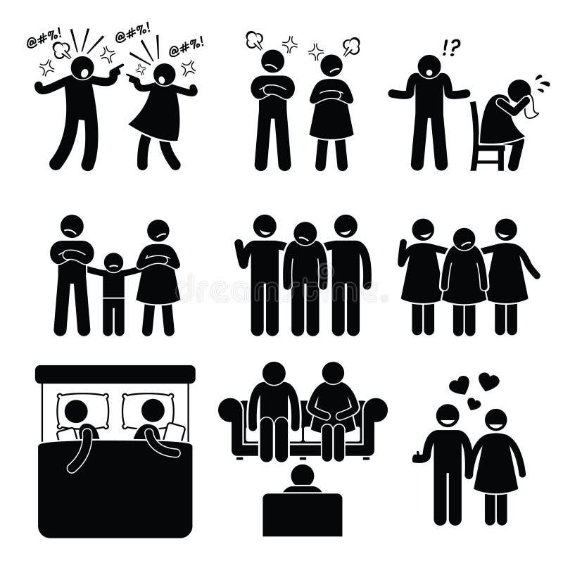 Esposa del marido de los pares del problema de la familia de la boda con el consejero libre illustration