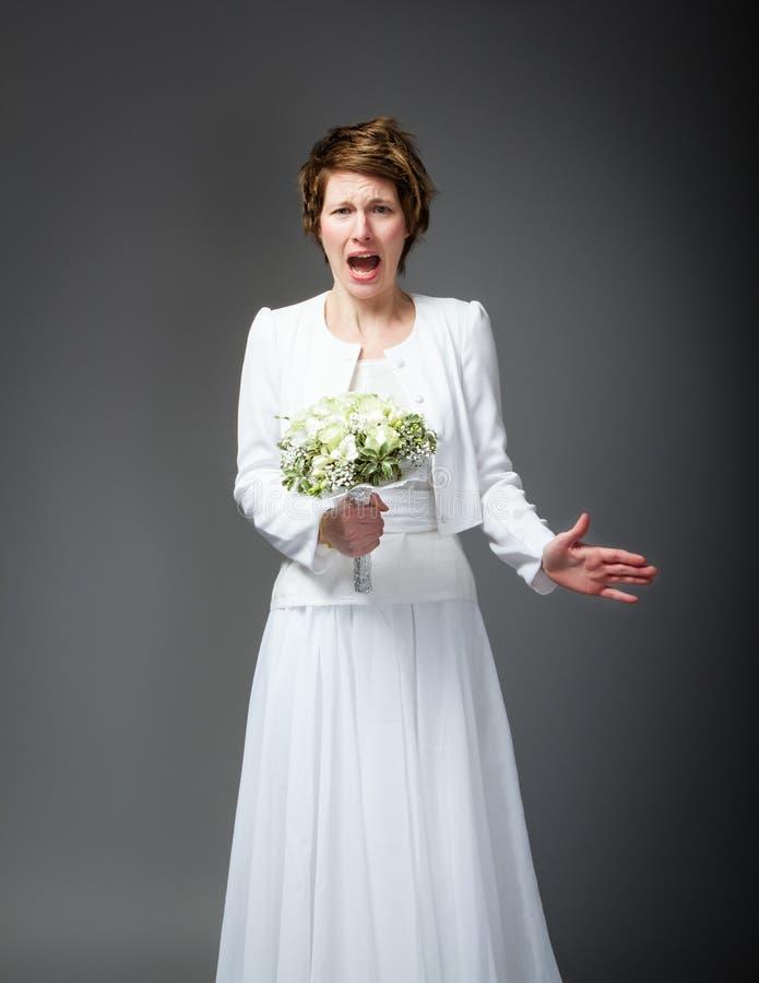 Esposa desesperada no dia do casamento imagens de stock royalty free