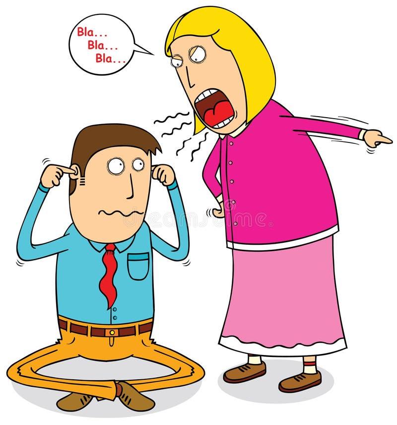 Esposa enojada stock de ilustración