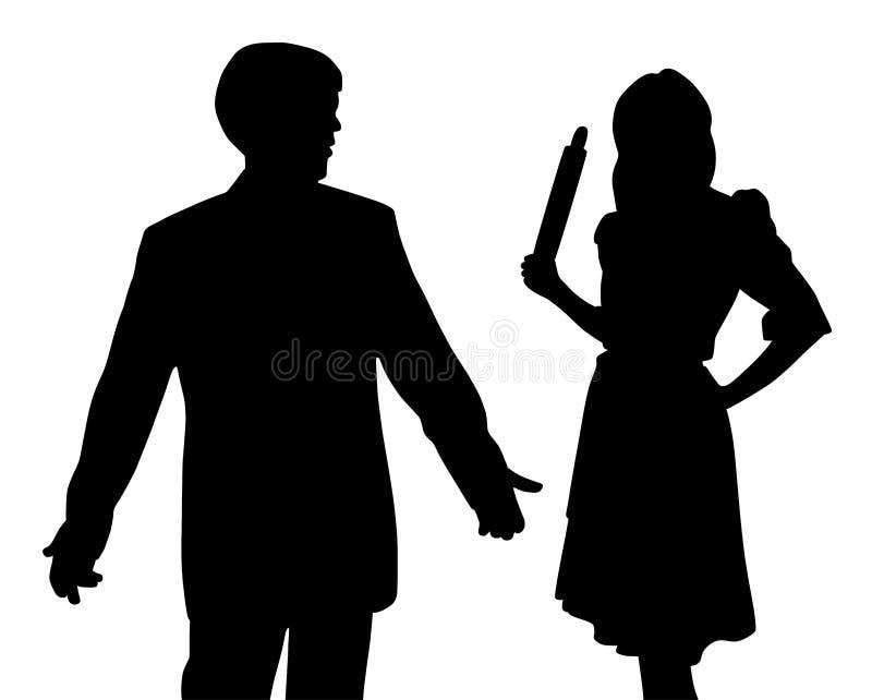Esposa enojada con el rodillo y el marido confuso desconcertado que hacen gesto desamparado ilustración del vector