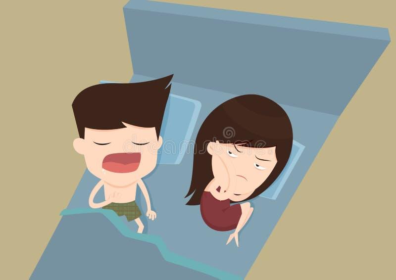 Esposa irritante do marido do ressono ilustração royalty free