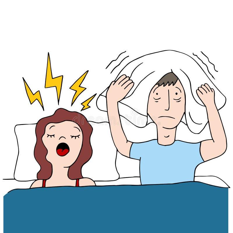 Esposa que ronca ilustración del vector