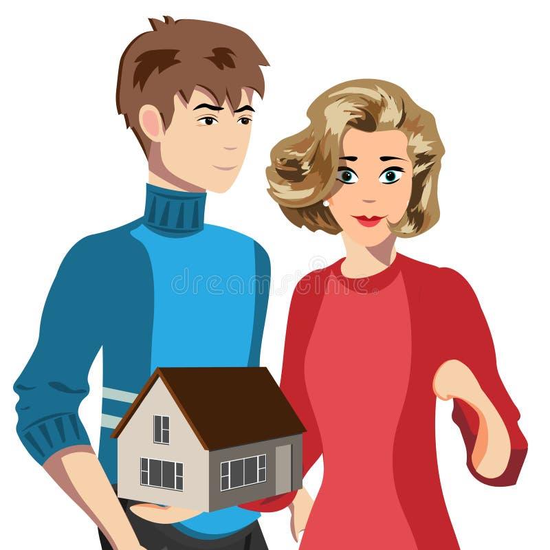 Esposa y marido de la composición que sostienen la pequeña casa ilustración del vector