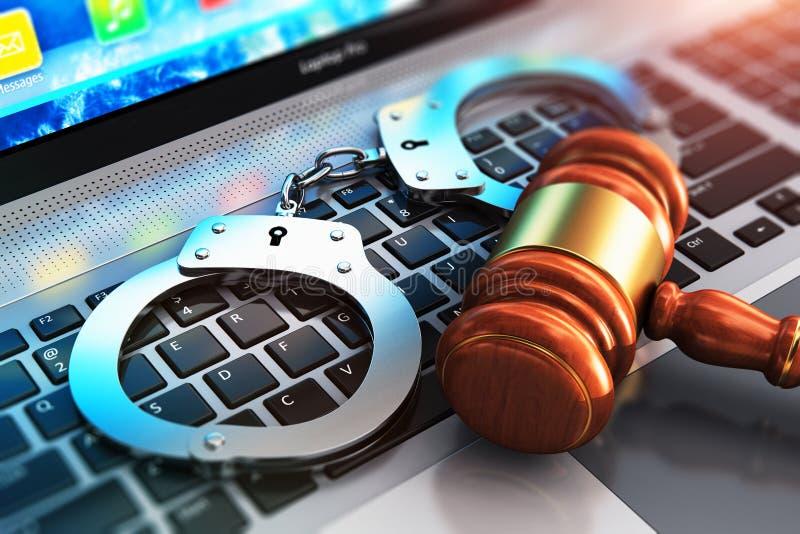 Esposas y mazo del juez en el teclado del ordenador portátil libre illustration