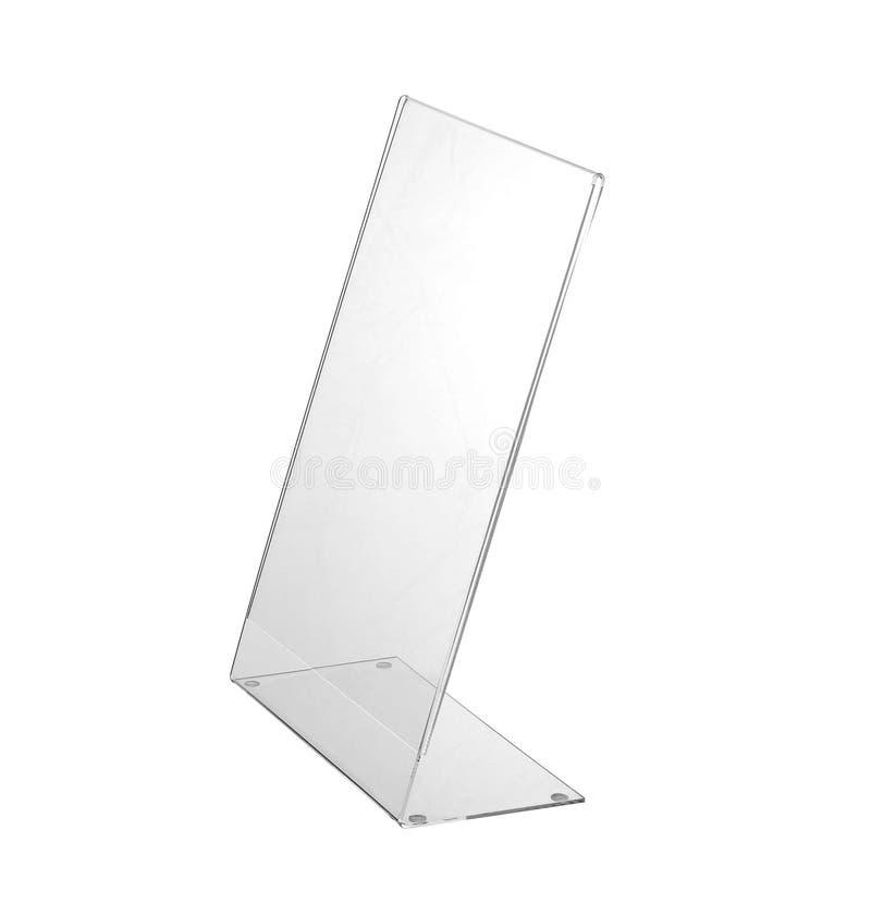 Esposizione acrilica trasparente del supporto della tavola per il menu isolato, fondo bianco immagine stock