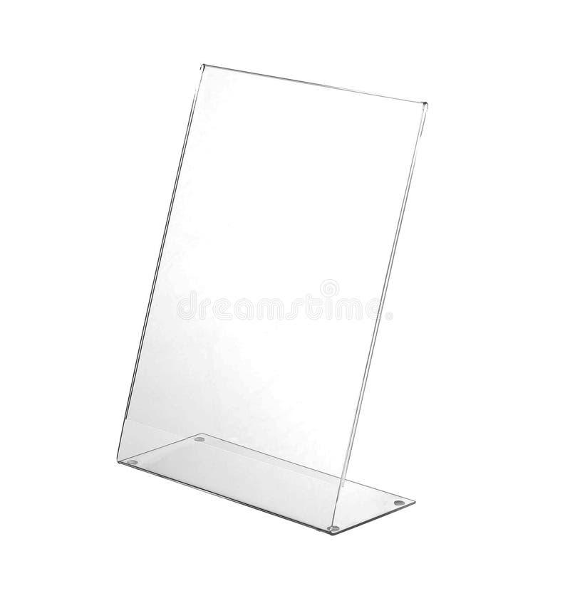 Esposizione acrilica trasparente del supporto della tavola per il menu isolato, fondo bianco fotografia stock