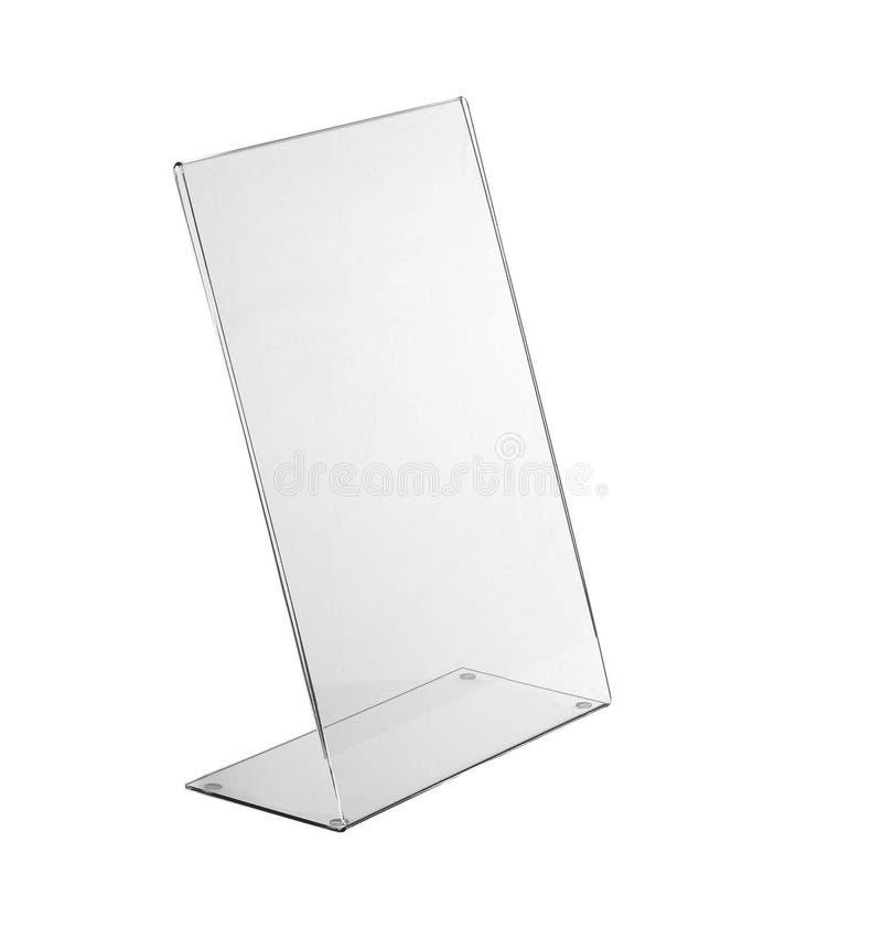 Esposizione acrilica trasparente del supporto della tavola per il menu isolato, fondo bianco fotografie stock