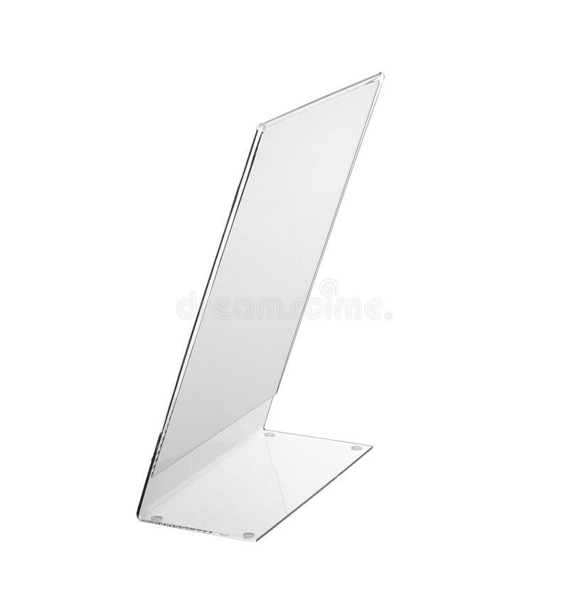 Esposizione acrilica trasparente del supporto della tavola per il menu isolato, fondo bianco fotografie stock libere da diritti