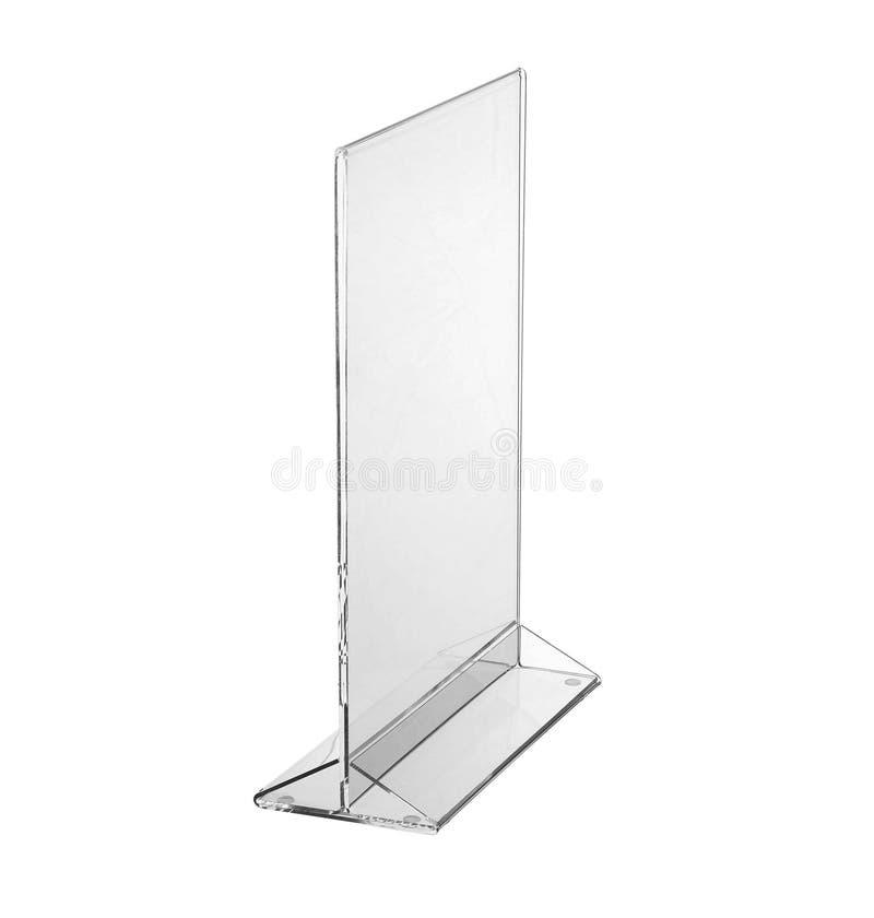 Esposizione acrilica trasparente del supporto della tavola per il menu isolato, fondo bianco immagini stock